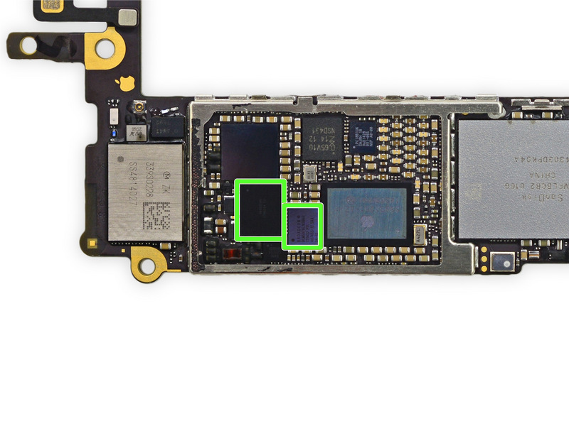 Outlined in green are the two IC chips that need to be replaced to fix the iPhone 6 / 6 Plus Touch Disease. The Device Shop now offers Touch Disease Repair